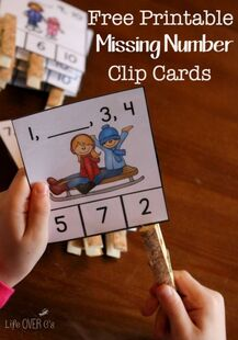 Download these free winter missing number clip cards for kindergarten  (or first grade review). They are a fun, hands-on way to work on number order.: