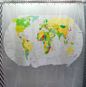 WORLD-MAP-Design-PVC-Colorful-180-x-180-cm-Bathroom-Use-Shower-Curtain-Set