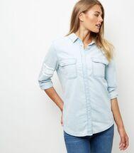 Chemise oversize en jean bleu clair à manches longues | New Look
