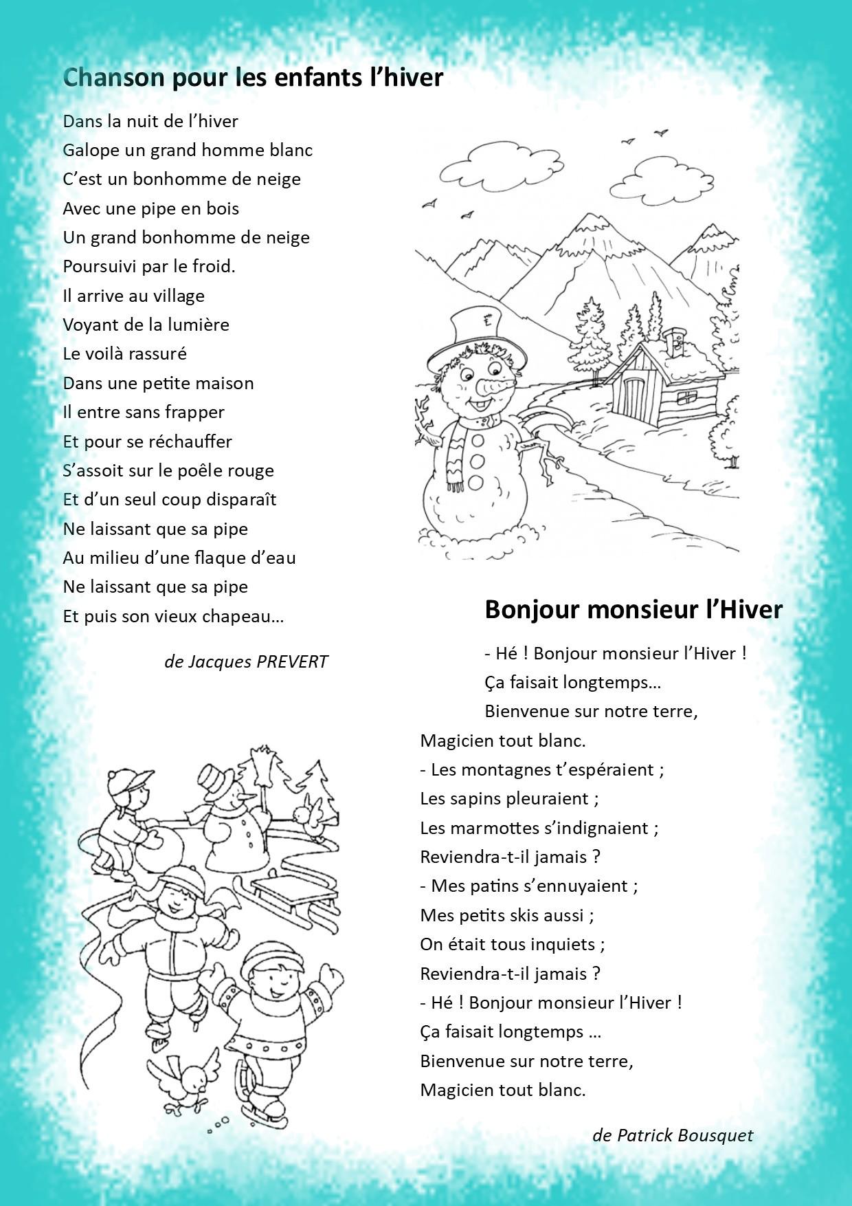 Bonjour Monsieur L Hiver Poésie : bonjour, monsieur, hiver, poésie, Hiver, Neige, Poésies, L'année, 2019-2020