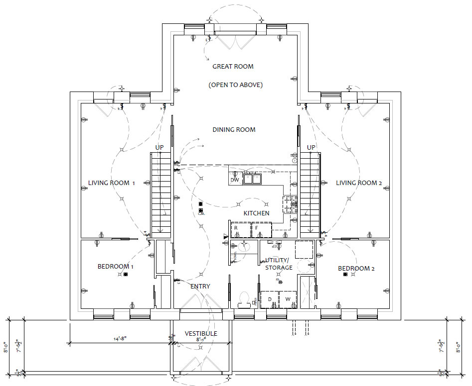 Floorplan for shared family home with two living areas, shared kitchen and dining