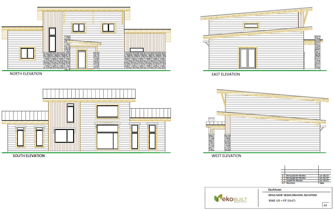 Ottawa passive house design - exterior elevations