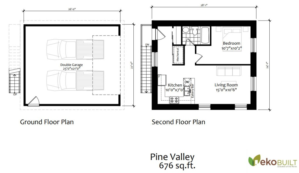 The Pine Valley coach house with two garage shown with a living suite above the garage.