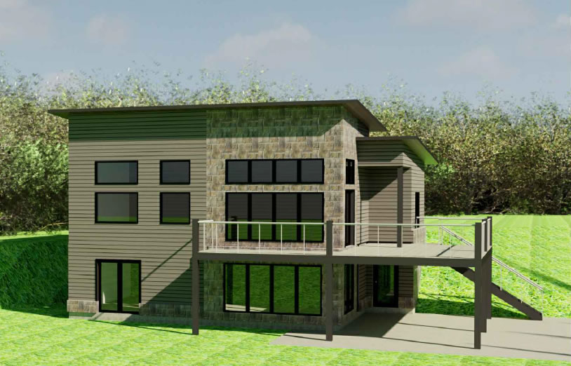 The modified Foxglove house plan adds a walkout basement to this three bed, two bath home.