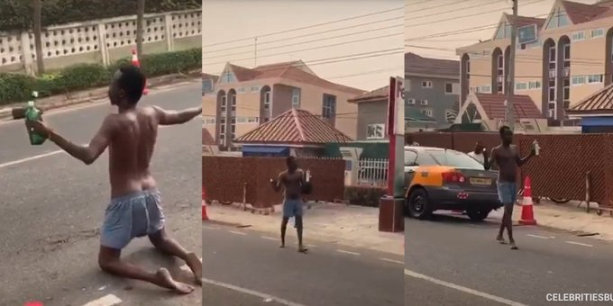 Man Goes Naked To Curse Popular Courier Company, See Why
