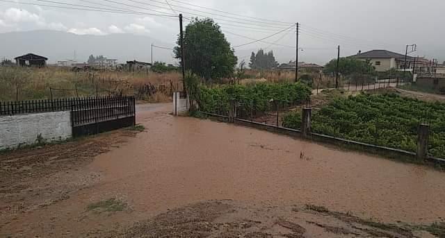 Πλημμύρισαν αυλές στο Σπαθοβούνι