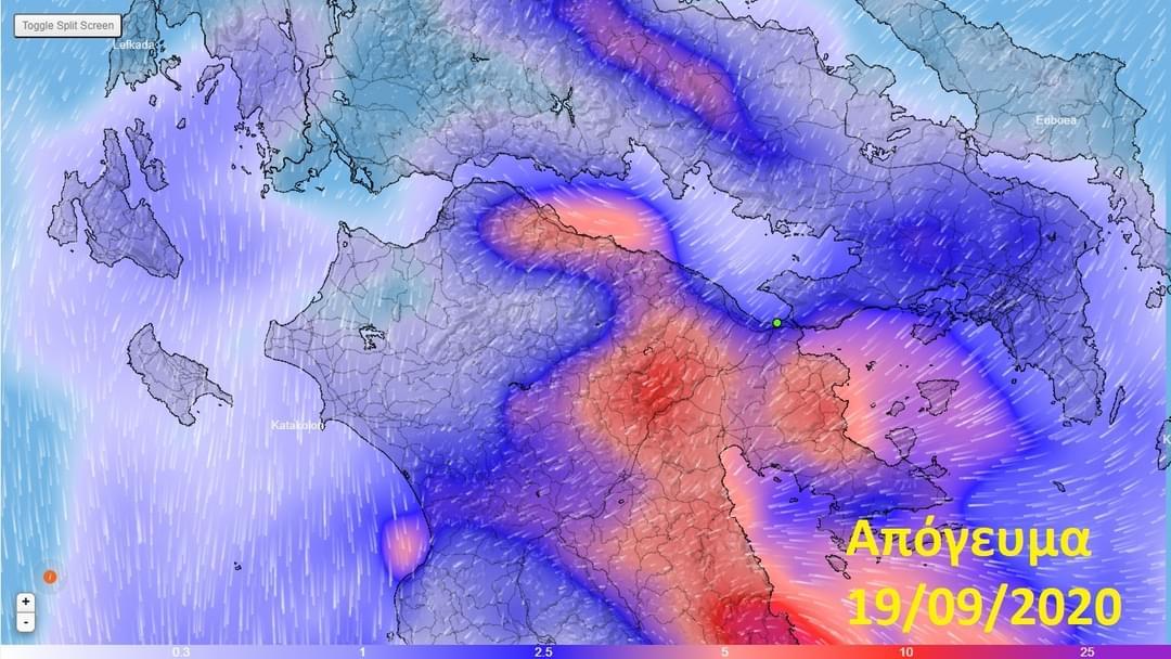Χάρτες βροχής για Παρασκευή και Σάββατο για Κορινθία