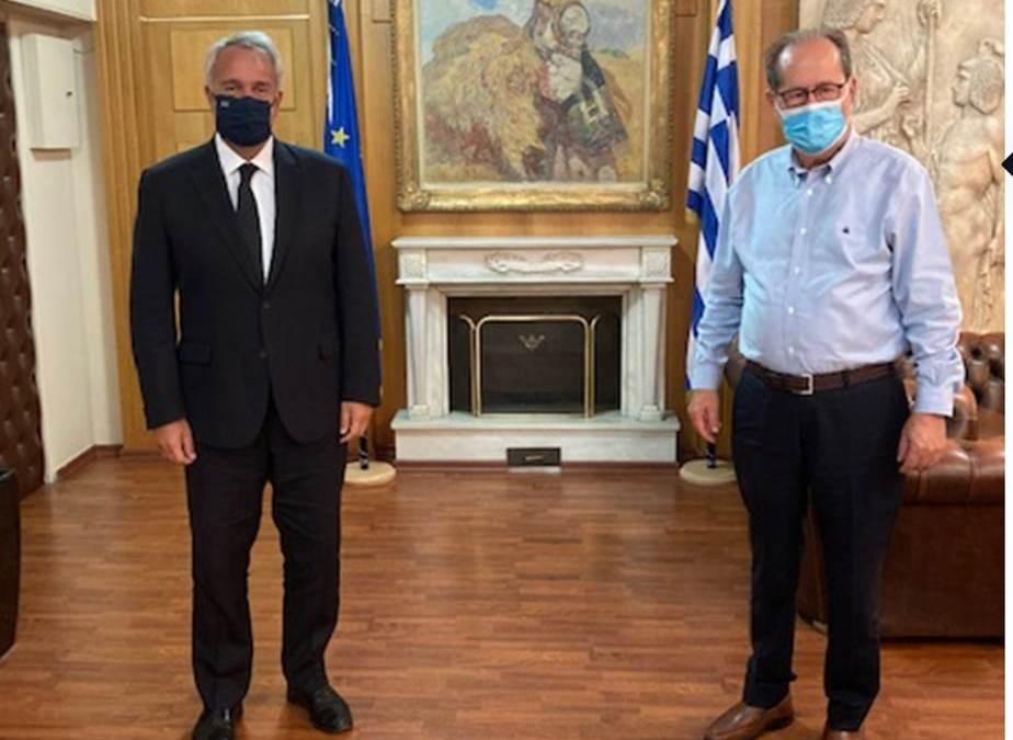 Θέματα του πρωτογενή τομέα στην Περιφέρεια Πελοποννήσου συζήτησε ο περιφερειάρχης Π. Νίκας με τον υπουργό Αγροτικής Ανάπτυξης Μ. Βορίδη