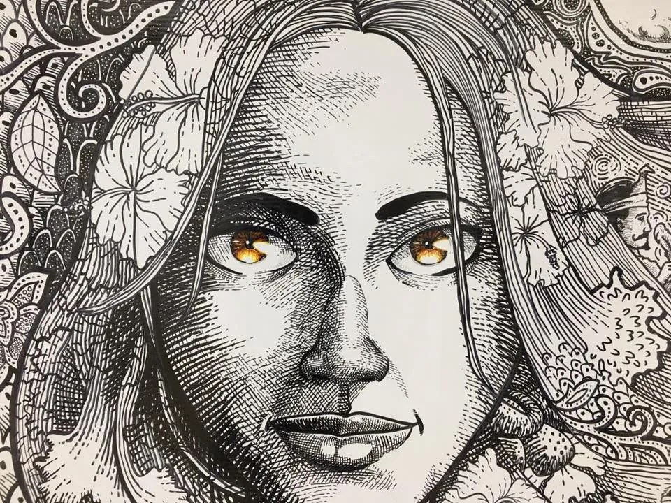 What's the story behind this sketch of a hauntingly beautiful woman?