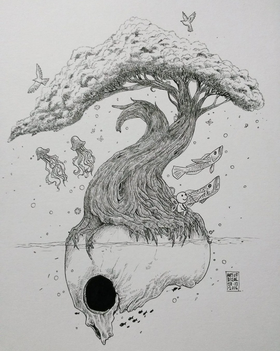 "The Art of Rizal Paperbag Head is another artist who uses ink to invoke surrealism in his art. This one is simply titled, ""Pokok""."