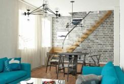 wizualizacja salonu ze schodami na piętro w apartamencie na sprzedaż w Legnicy