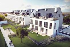widok z lotu ptaka na apartamentowiec we Wrocławiu, w którym mieści się apartament na sprzedaż