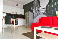 widok na fragment salonu i aneks kuchenny w apartamencie w Katowicach do wynajęcia