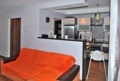 na zdjęciu fragment salonu i aneks kuchenny na drugim planie w apartamencie do sprzedaży w Szczecinie