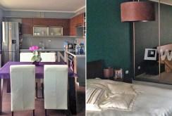 widok na aneks kuchenny oraz sypialnię w apartamencie do wynajęcia w Szczecinie