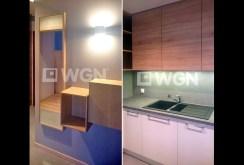 na lewym zdjęciu fragment przedpokoju, na prawym - kuchnia w apartamencie w Szczecinie do wynajmu