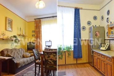 na zdjęciu fragment salonu oraz kuchni w luksusowym apartamencie do sprzedaży w Legnicy