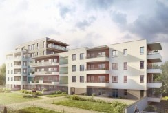 rzut od strony osiedla na budynek w Olsztynie, w którym znajduje się apartament na sprzedaż