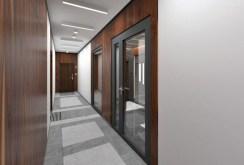 zdjęcie prezentuje luksusową klatkę schodową w apartamentowcu w Olsztynie, w którym mieści się oferowany apartament do sprzedaży