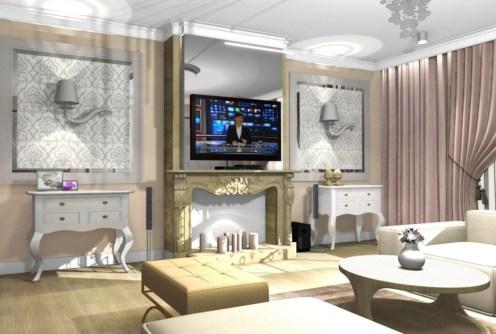 na zdjęciu nowoczesny salon w apartamencie do sprzedaży w okolicy Legnicy