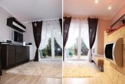 na zdjęciu dwie perspektywy salonu w luksusowym apartamencie do sprzedaży w Szczecinie