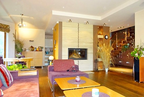 zdjęcie prezentuje salon z kominkiem w luksusowej willi na sprzedaż we Wrocławiu