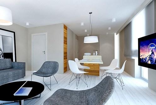 wizualizacja przedstawia luksusowy salon w apartamencie do sprzedaży nad morzem