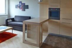 zdjęcie prezentuje zarówno aneks kuchenny jak i salon w luksusowym apartamencie w Piotrkowie Trybunalskim do sprzedaży