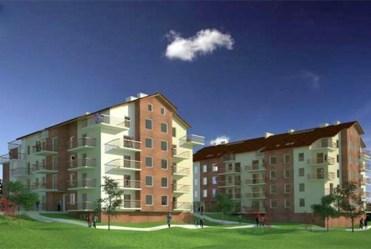 widok na osiedle apartamentowców w Katowicach, w których mieści się ekskluzywny apartament do wynajęcia