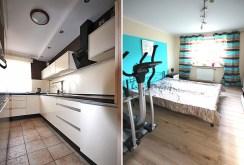 po lewej kuchnia, po prawej sypialnia z siłownią w ekskluzywnym apartamencie w Szczecinie na wynajem