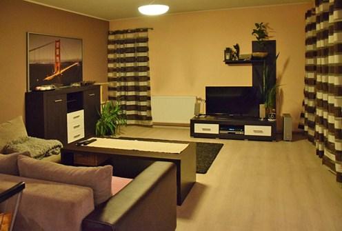 luksusowy salon w ekskluzywnym apartamencie do wynajęcia w Katowicach