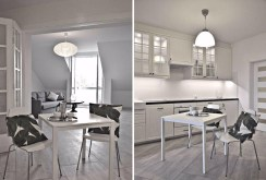dwa ujęcia kuchni i jadalni w luksusowym apartamencie w Krakowie na wynajem