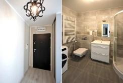 po lewej luksusowy przedpokój, po prawej ekskluzywna łazienka w luksusowym apartamencie w Szczecinie na wynajem