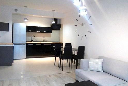 komfortowa kuchnia w luksusowym apartamencie do wynajęcia w Szczecinie
