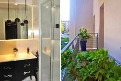 zdjęcie prezentuje po lewej łazienkę, po prawej taras w luksusowym apartamencie w Szczecinie na wynajem
