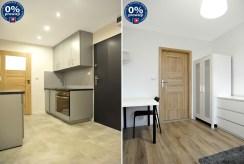 po lewej kuchnia, po prawej pokój w luksusowym apartamencie do sprzedaży w Katowicach