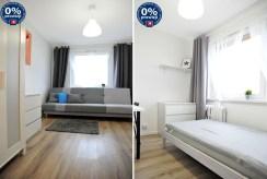 na zdjęciach fragment salonu oraz sypialni w luksusowym apartamencie w Katowicach na sprzedaż