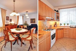 po lewej saloon, po prawej kuchnia w luksusowej willi do wynajmu w Szczecinie