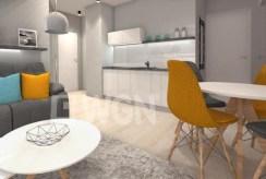 komfortowo urządzona kuchnia w luksusowym apartamencie nad morzem na sprzedaż