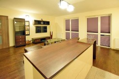 widok od strony aneksu kuchennego na luksusowy apartament do wynajmu w Suwałkach