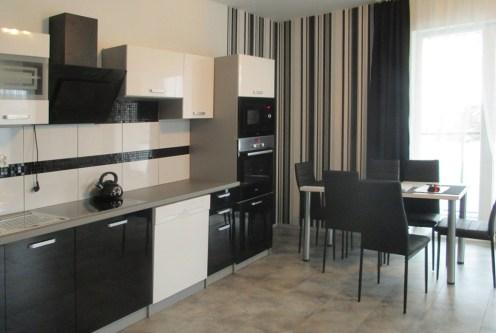 widok na aneks kuchenny w ekskluzywnym apartamencie do sprzedaży na Mazurach