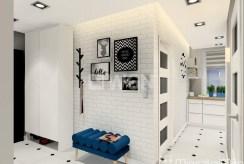 wizualizacja z propozycją nowoczesnego zaprojektowania przedpokoju w luksusowym apartamencie w Kwidzynie do sprzedaży