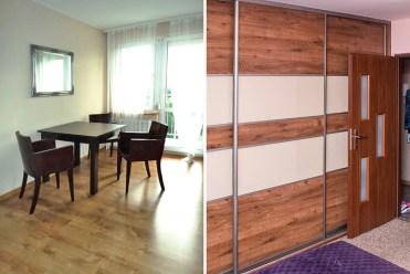 po lewej salon po prawej przedpokój w luksusowym apartamencie do wynajmu w Katowicach