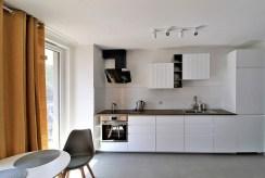 widok na komfortową kuchnię w ekskluzywnym apartamencie w Krakowie na wynajem