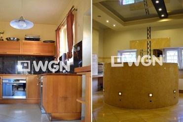 po lewej kuchnia, po prawej łazienka w luksusowej willi w Legnicy na sprzedaż