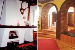 po lewej kominek, po prawej przedpokój w luksusowej willi do sprzedaży w okolicy Legnicy