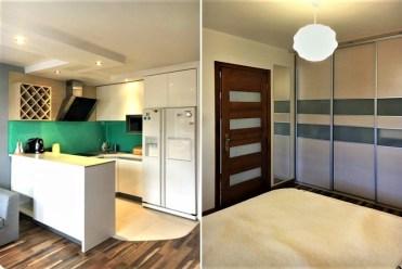po lewej komfortowy aneks kuchenny, po prawej elegancka sypialnia w luksusowym apartamencie w Krakowie na wynajem