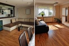 dwa ujęcia salonu z różnych perspektyw w luksusowym apartamencie do wynajmu w Krakowie