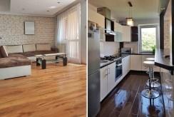 po lewej komfortowy salon, po prawej nowoczesna kuchnia w luksusowym apartamencie w Krakowie na wynajem