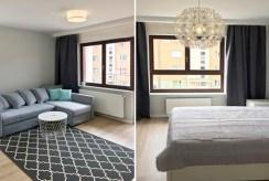 po lewej salon, po prawej sypialnia w luksusowym apartamencie w Szczecinie na wynajem